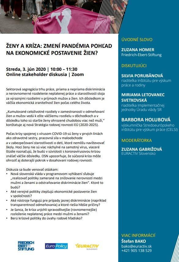 Pozvánka na online diskusiu Ženy a kríza: Zmení pandémia pohľad na ekonomické postavenie žien? 3.6.2020
