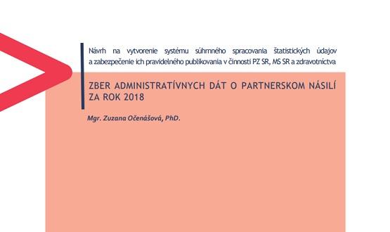 Titulná strana publikácie Zber administratívnych dát o partnerskom násilí za rok 2018 (Zuzana Očenášová, IVPR)
