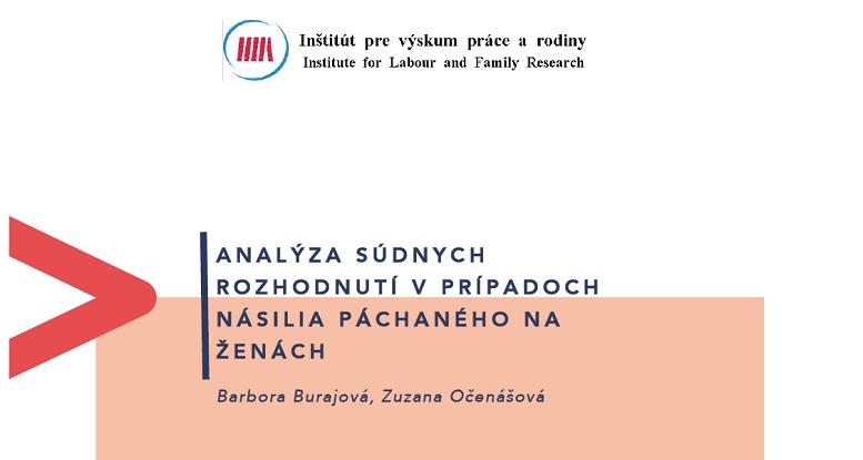 Titulná strana publikácie Analýza súdnych rozhodnutí v prípadoch násilia páchaného na ženách