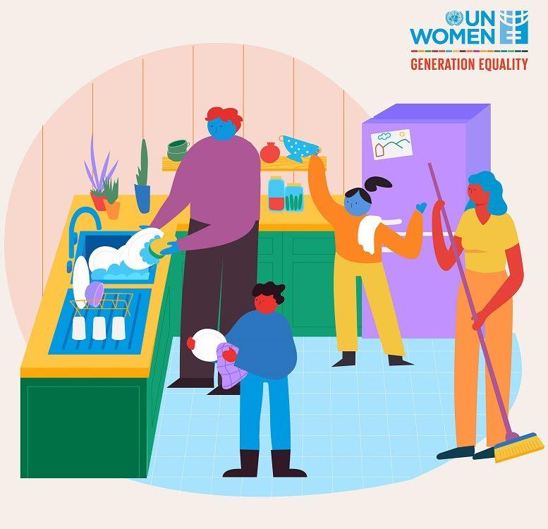 Kreslený obrázok k UN WOMEN Generation Equality - neplatená práca v domácnosti