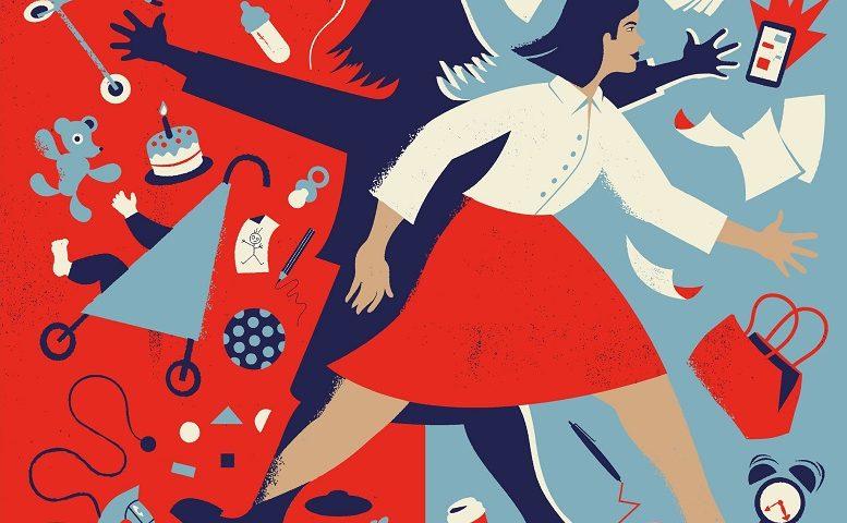 Ilustračný obrázok - grafika zobrazujúca ženu s množstvom povinností